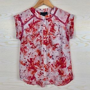 Attention Pink Toned Floral Button Down Blouse